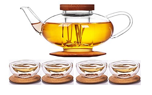 iRSE Glass Teaset 1 Teapot  4 cups and Glass Infuser Bamboo Lid Bamboo Tray Borosilicate Glass durable heat resistant hot drink pot for loose leaf tea herbs herbal detox Dishwasher safe 24 oz