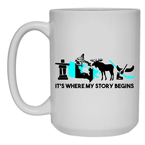 Canada White Coffee Mug - Canada Tea Cup Mugs Ceramic 15oz Cool Design Gift For Friend Family White Mug 15oz