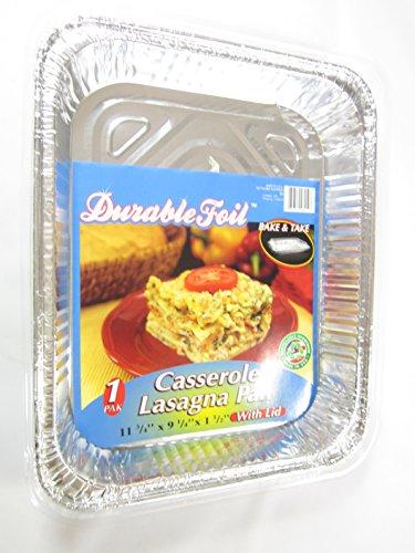 3 Disposable Aluminum Casserole Lasagna Pans With Lids