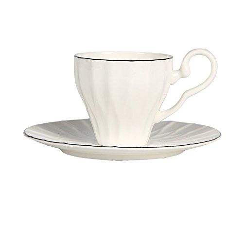 White minimalist coffee cup set Tea set embossed coffee mugs-A