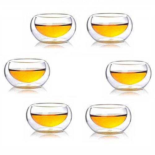 Hoobar Glass Kungfu Tea Cups Double-walled Borosilicate Glass Heat-resisting Teacup Set of 6