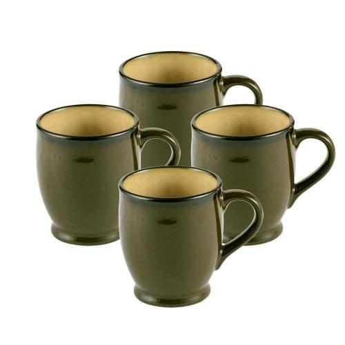 Gourmet Basics by Mikasa Belmont Green Mugs Set of 4