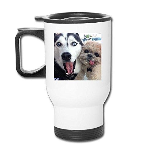 Husky Face Pet Dog Stainless Steel Tea Mug Travel Coffee Mug Or Tea Cup With Lid White