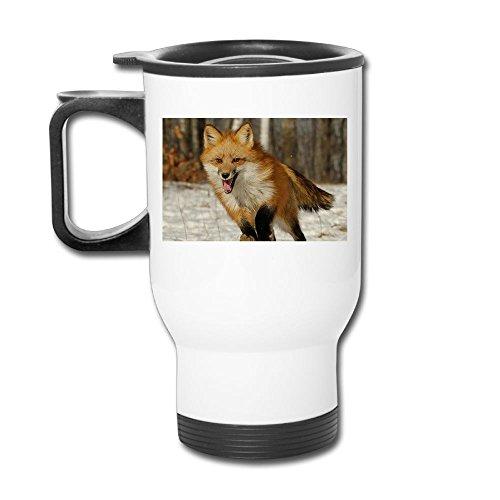 Running Fox Stainless Steel Tea Mug Travel Coffee Mug Or Tea Cup With Lid White