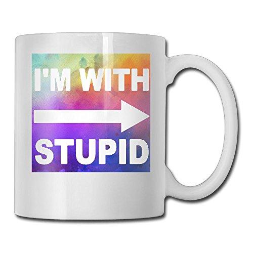 Ceramic Custom Tea Cup - Im With Stupid Dishwasher And Microwave Safe