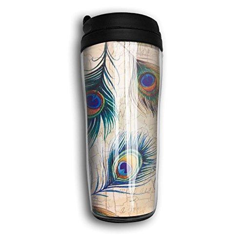 Colorful Peacock Feather Lovely Coffee Mug Custom Tea Cup Insulated Travel Mug Christmas Gift 350ml