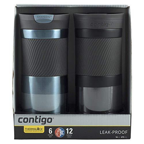 Contigo Snapseal Travel Mug Set 2Pk 16oz Leak Proof Vacuum Insulation