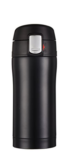Kooyi Vacuum Insulated Stainless Steel Travel Coffee Mug  Water Bottle One-handed Open and Drink 85oz Black