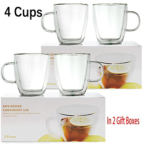 4 Sets 10 oz Double Wall Ultra Clear Insulated Coffee Mugs Cups USA Company Made of Real Borosilicate Glass Satisfaction Guarantee Idea for Christmas Gift ~ We Pay Your Sales Tax