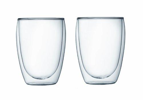 Bodum PAVINA Coffee Mug Double-Wall Insulated Glass Mug Clear 12 Ounces Each Pack of 2