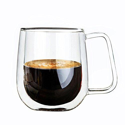 Dogstory High Boron Silicon Coffee Mug Double-Wall Insulated Glass Espresso Mugs Clear 8 Ounces Each Set of 1