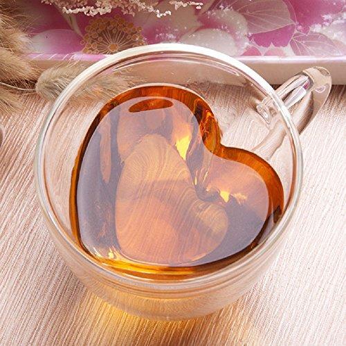 LauderHome Coffee MugDouble-Wall Insulated Glass MugHeart-Shaped 101 Oz