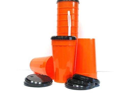 8 Large 32 Ounce Orange Tumblers Black Lids Flex Straws