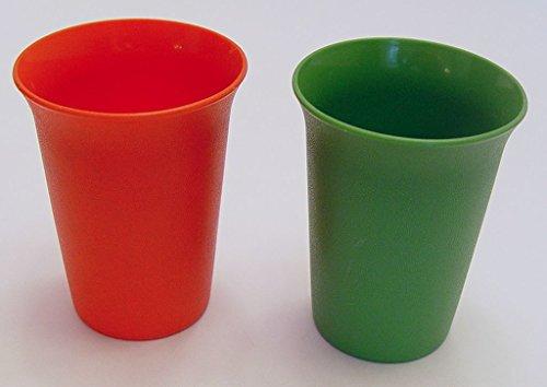 Vintage Childs Set of Tupperware Bell Tumblers Green Orange 7 Ounces NO LIDS