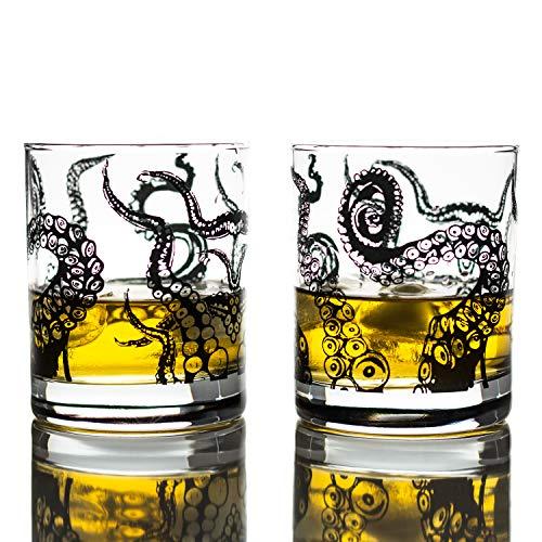 Greenline Goods Whiskey Glasses - 10 Oz Tumbler Gift Set - Kraken Whiskey Glasses Set of 2  Rocks Glass Octopus Decor  Old Fashioned Rocks Glasses