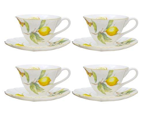 Gracie China Lemon Porcelain 7-Ounce Tea Cup and Saucer Set of 4