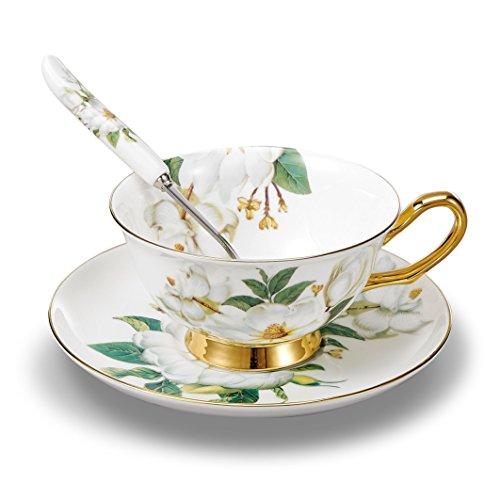 Panbado 3 Piece Bone China Tea Cup Saucer Set With Spoon Porcelain Gold Rimmed Teacup Coffee Camellia 200 mL68 oz WhiteGreen