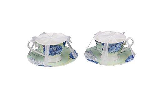 Scarlett Bone China 4-Piece Tea Cup and Saucer Set Blue Peony Set of 2