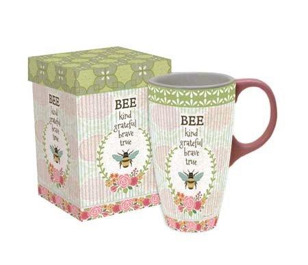 LANG - 18 oz Ceramic Latte Mug - Bee Kind - Artwork by Suzanne Nicoll