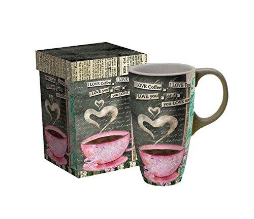 LANG - 18 oz Ceramic Latte Mug - I Love Coffee - Artwork by Lisa Kaus