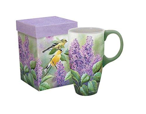 LANG - 18 oz Ceramic Latte Mug - Songbirds - Goldfinches and Lilacs - Artwork by Susan Bourdet