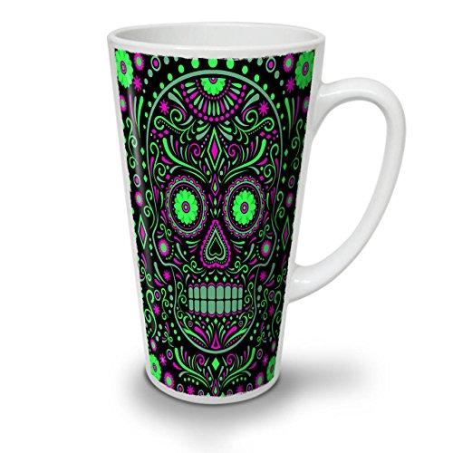 Skull Sugar Acid Art Zombie Eye White Ceramic Latte Mug 17 oz  Wellcoda
