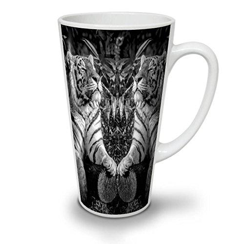 Tiger Wild Beast Animal Jungle Cat White Ceramic Latte Mug 17 oz  Wellcoda
