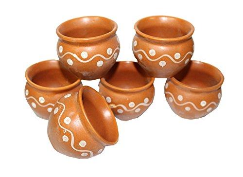 Creativegifts Ceramic 6 Pc Kulhar Kulhad Cups Traditional Indian Chai Tea Cup 2x2 inch