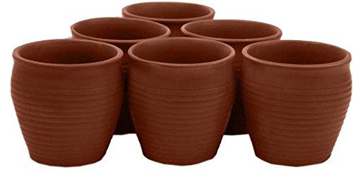 Odishabazaar Ceramic 6 Pc Kulhar Kulhad Cups Traditional Indian Chai Tea Cup Set of 6 2x2 inch