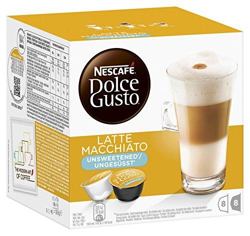 Nescafé Dolce Gusto Latte Macchiato Unsweetened Pack of 3 3 x 16 Capsules 24 Servings