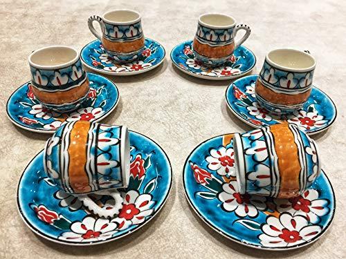 IstanbulArtWorkshop 6x Espresso Cup SetCeramic Espresso CupCoffee Lovers GiftSake CupCappuccino Cup SetTurkish Coffee Cup SetEspresso MugMacchiato Cup 25Oz
