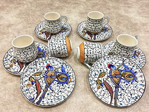 IstanbulArtWorkshop Handmade Turkish Coffee Cups SetSmall Ceramic Espresso Cups And SaucersSet Of 6 Demitasse Cups 25 ozEspresso Cup SetEspresso Set