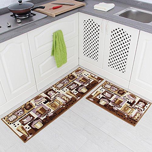 Carvapet 2 Piece Non-Slip Kitchen Mat Rubber Backing Doormat Runner Rug Set Coffee Design Brown 15x4715x23