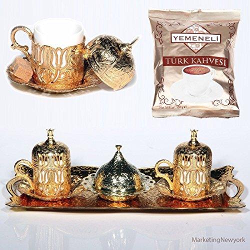 12 Pc Ottoman Turkish Greek Arabic Coffee Espresso Serving Cup Saucer Gold