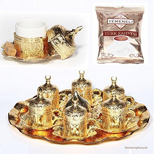 27 Pc Ottoman Turkish Greek Arabic Coffee Espresso Serving Cup Saucer Gold