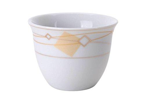 Turkish Arabic Coffee Cups Gawa Set of 12 Gold Banded Cups Golden Diamonds