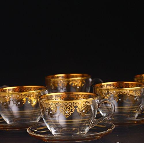 Turkish Coffee Mug Set 12 Pcs- Tea Glasses Sets- Arabic coffee Mugs-Ethnic designed Nescafe cups