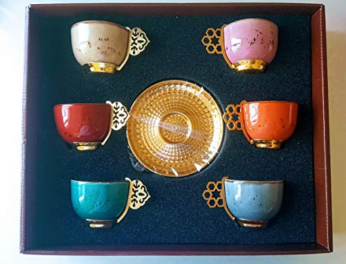 Turkish Greek Arabic Coffee Espresso Cup Saucer Porcelain Set Mixed Color Stylish appearance- Hand made