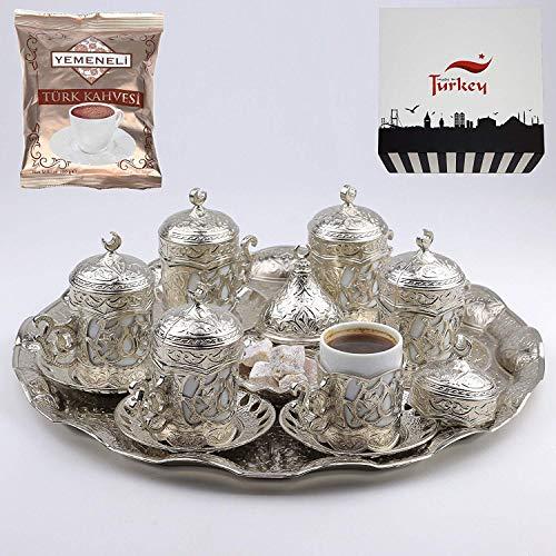 Turkish Greek Arabic Coffee Serving Cup Saucer Gift Set SILVER
