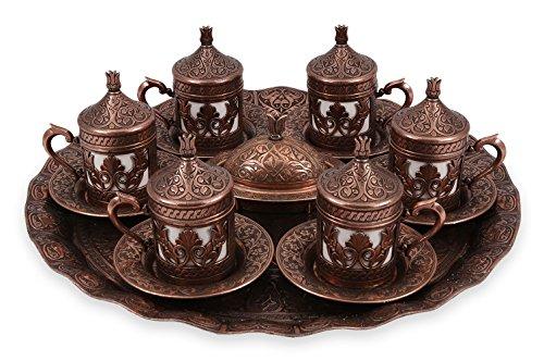 Traditional Design Brass Cast Turkish Armenian Arabic Greek Coffee Set Coffee Cup Espresso Set Tea Set for Six-CS6-206