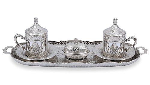 Traditional Design Brass Cast Turkish Armenian Arabic Greek Coffee Set Coffee Cup Espresso Set Tea -Set for Two-CS2-204