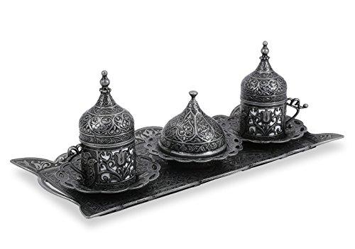 Traditional Design Brass Cast Turkish Armenian Arabic Greek Coffee Set Coffee Cup Espresso Set Tea Set for Two-CS2-213