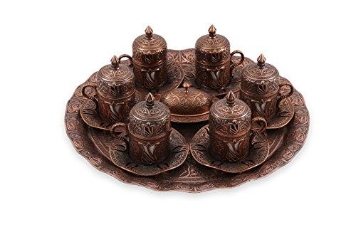 Traditional Design Brass Cast Turkish Greek Armenian Arabic Coffee Set Espresso Set Tea Set for Six-CS6-201