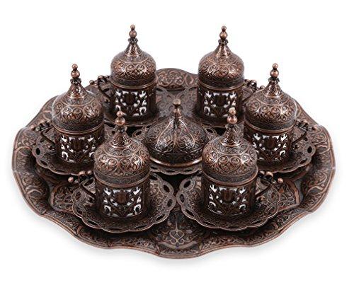 Traditional Design Brass Cast Turkish Greek Armenian Arabic Coffee Set Espresso Set Tea Set for Six-CS6-211