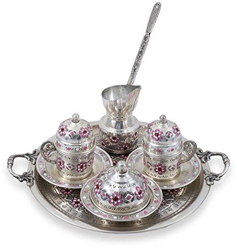 Traditional Design Handmade Copper Turkish Armenian Arabic Greek Coffee Set Espresso Set Coffee Cup Coffee Pot Tea Set for Two-CS2-110
