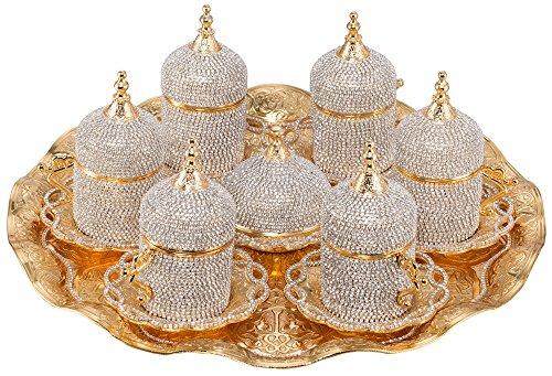 Grand Gifft Handmade Copper Turkish Coffee Espresso Serving Set Swarovski Crystal Coated Cup Upper Crust Vip Product