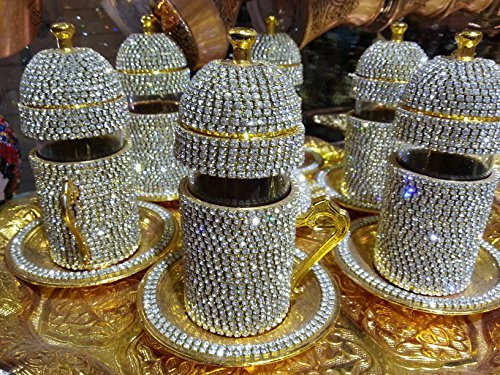 Handmade Copper Turkish Coffee Espresso Tea Set Swarovski Crystal Coated Cup by Istanbul Gift Shop