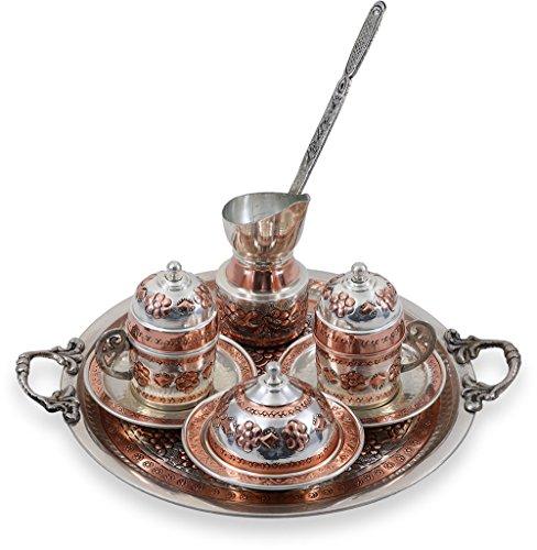 Traditional Design Handmade Copper Turkish Armenian Arabic Greek Coffee Set Espresso Set Coffee Cup Coffee Pot Tea Set for Two-CS2-108
