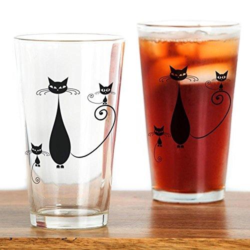 CafePress - Black Cat - Pint Glass 16 oz Drinking Glass