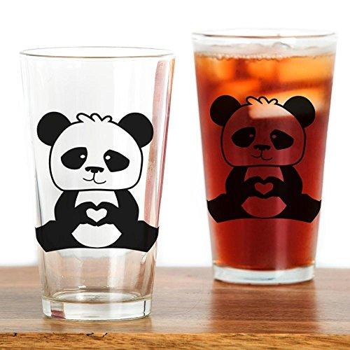 CafePress - Pandas Hands Showing Love - Pint Glass 16 oz Drinking Glass